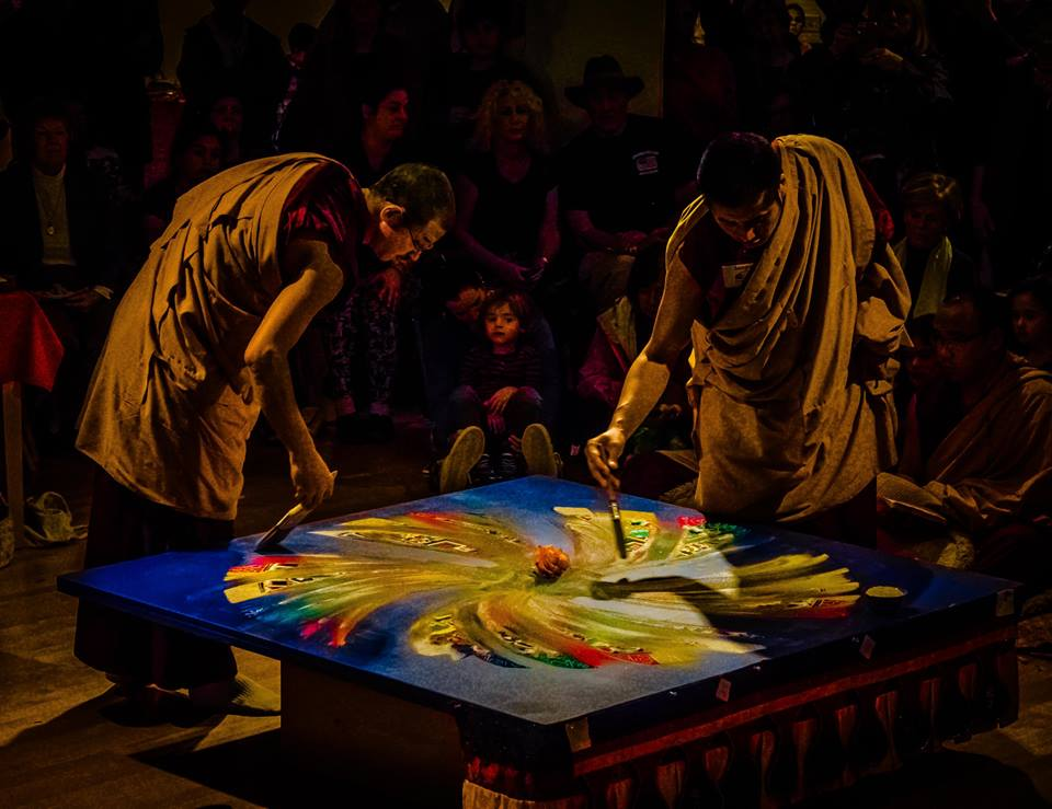 Monks deconstructing the mandala by Lew Lautin