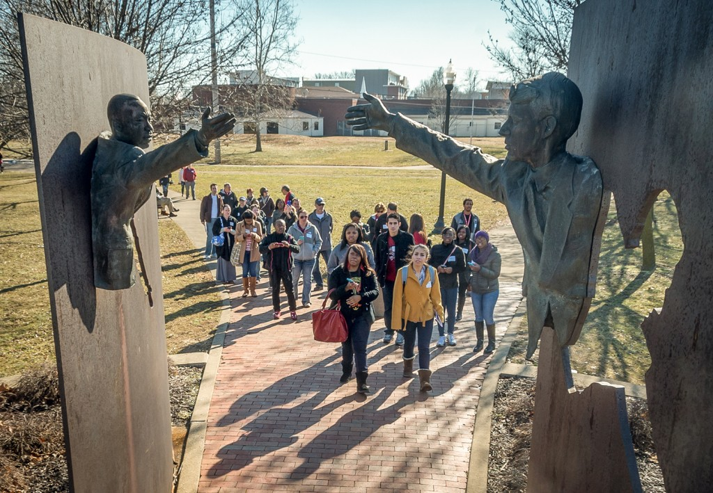 Main event: UIndy's Martin Luther King, Jr. Celebration bus tour to MLK Park, Crispus Attucks High School Museum, and the Madame Walker Theater on Monday, January 19, 2015. (Photo: University of Indianapolis / D. Todd Moore)