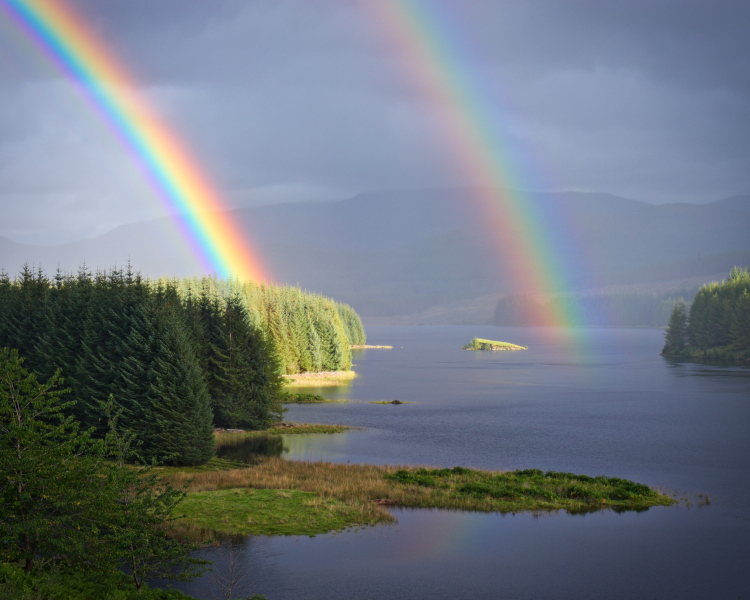 A fantastic double rainbow over Loch Laggan.