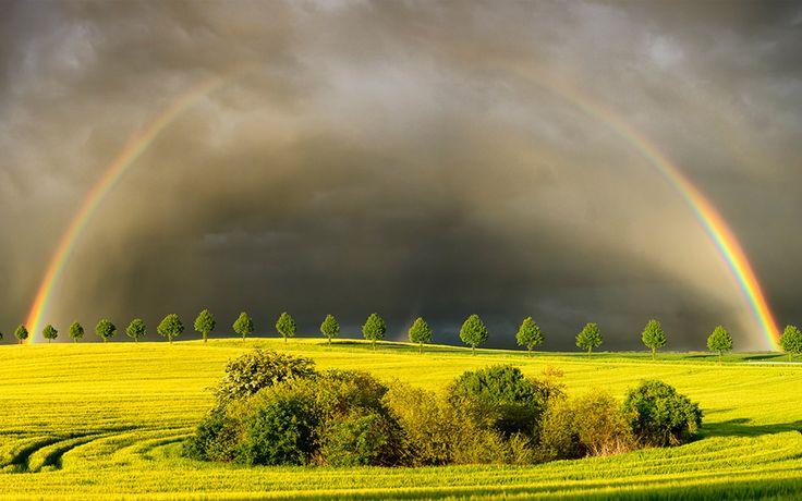 rain sun rainbow poland